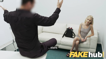 Fake Agent Big cock stretches tight Hungarian pussy on casting couch