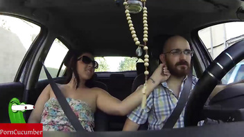 She sucks cock while he is driving the car
