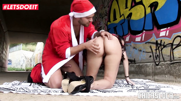Christmas Outdoor SEX for Kinky Spanish Teen