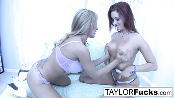 3-way lesbian fun on a bed