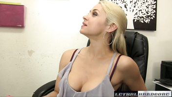 Sarah needs hard cock in her office and down her throat