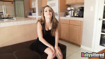 Beautiful young babysitter Tali Dova riding cock in POV