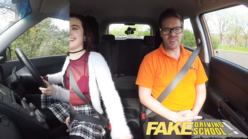 Fake Driving School New learners tight pussy stretched by instructors cock
