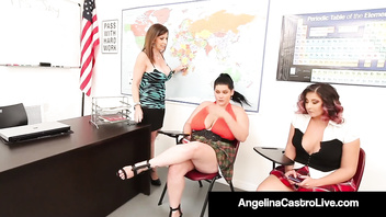 Plus Sized Students Angelina Castro & Gia Love StrapOn Bang!