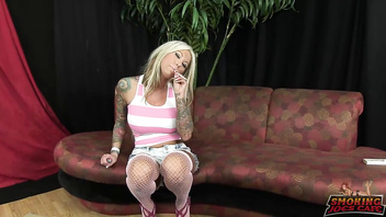 Blonde smoking and sucking
