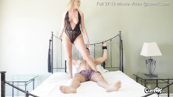 Tied up guy required to eat chicks pussy then she fucks him while he's tied down to the bed (Dominatrix scene with Alexis Adams) Cum4k