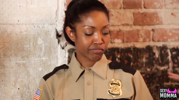 SEXYMOMMA - Ebony prison guard strapon fucked in the ass