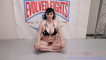 Jenevieve Hexxx lesbian sex wrestling and strapon fucking