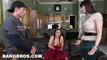 BANGBROS - MILF Stepmom Eva Karera Catches Teen Holly Hudson with Boyfriend
