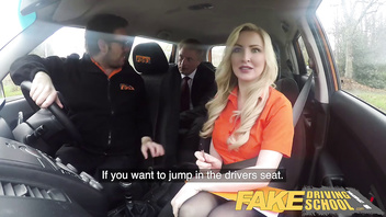 Fake Driving School Mature guy spunks over blonde bombshell Georgie lyall