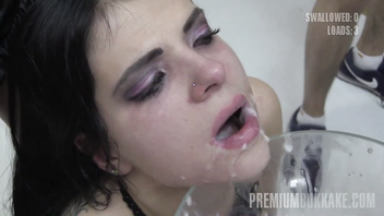 Premium Bukkake - Elya swallows 38 huge mouthful cumshots & got facialized