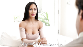 NannySpy Lonely dad seduces busty brunette Nanny Amia Miley