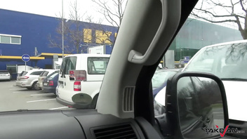 Busty mom take a fuck break with dude in van while shopping