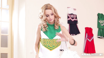 Anal addict Erica Fontes gets DP'ed in Cheerleader costume