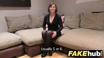Fake Agent UK Randy brunette takes a big facial after hard fuck