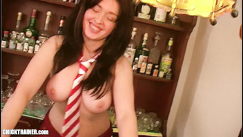 Barfly Britney Swallows five cum loads from shot glasses. Homemade Gokkun.