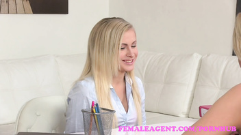 FemaleAgent. Sexy petite blonde seduced by beautiful agent