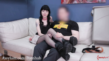 Hot Goth sub Charlotte Sartre gets brutal anal punishment & piss in garbage