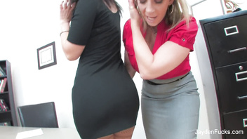 Jayden Jaymes and Sara Jay are busty office lesbians