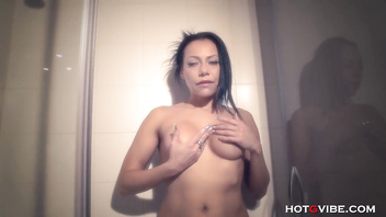 MILF Massages with Oil in the Shower