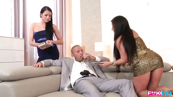 Mafia Boss serviced by 2 Nymphomaniac Beauties