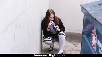 InnocentHigh - Hot Schoolgirl Smokes Weed & Sucks Some Cock